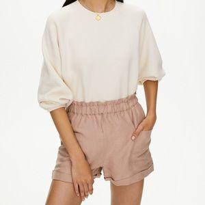 Aritzia Wilfred 100% Silk Tan Shorts